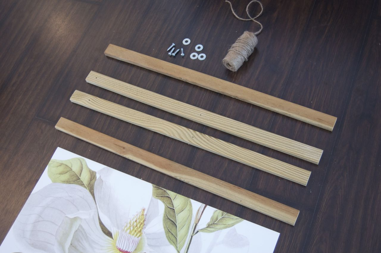 1x2 washers and screws to hang poster, fabric   How To   Pinterest