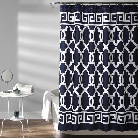 navy greek key shower curtain lush