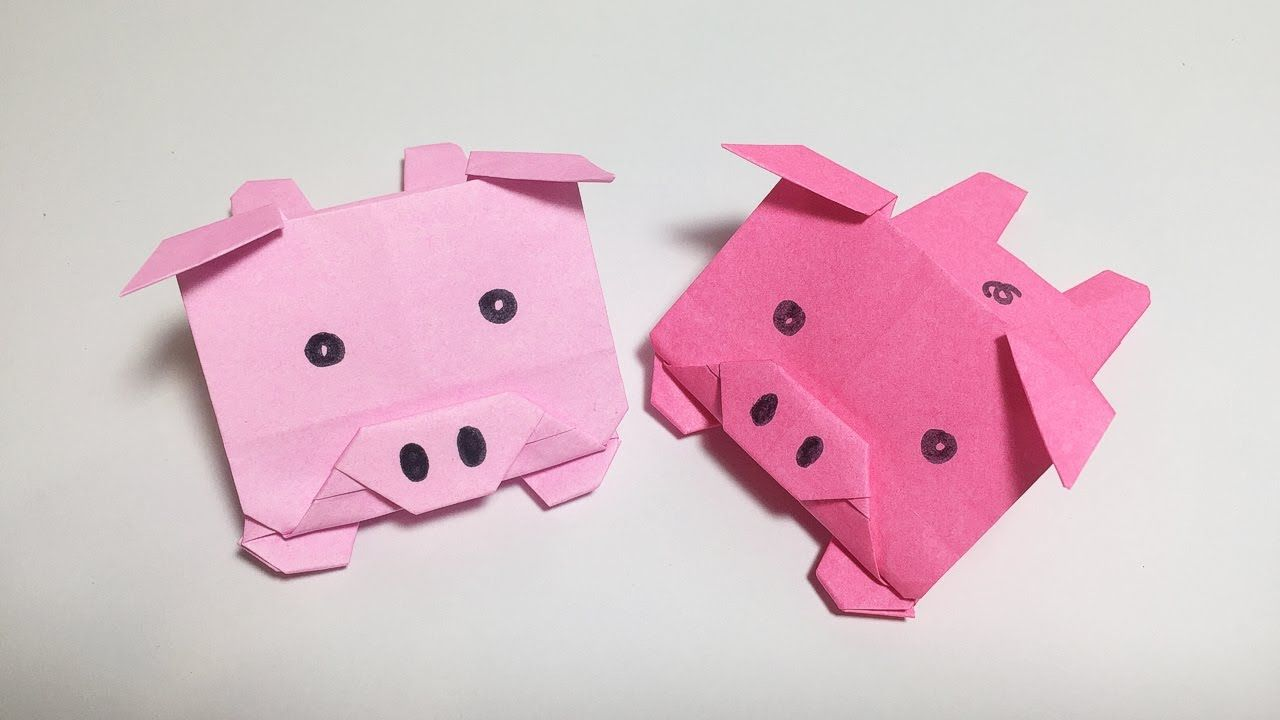 Easy pig 2 origami tutorial origami for kids origami - Origami 3d animaux ...