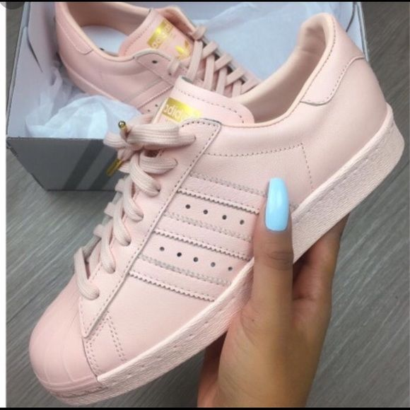 Custom all baby pink adidas super stars size 8