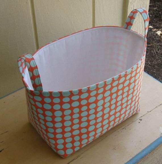 Fabric Storage Bin- Organizer- Coral- Robins Egg Blue Polka Dots- Large