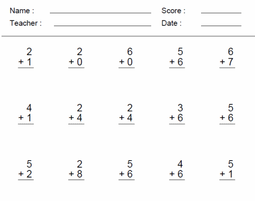 Single Digit Addition First Grade Math Worksheets Printable Math Worksheets Math Worksheets