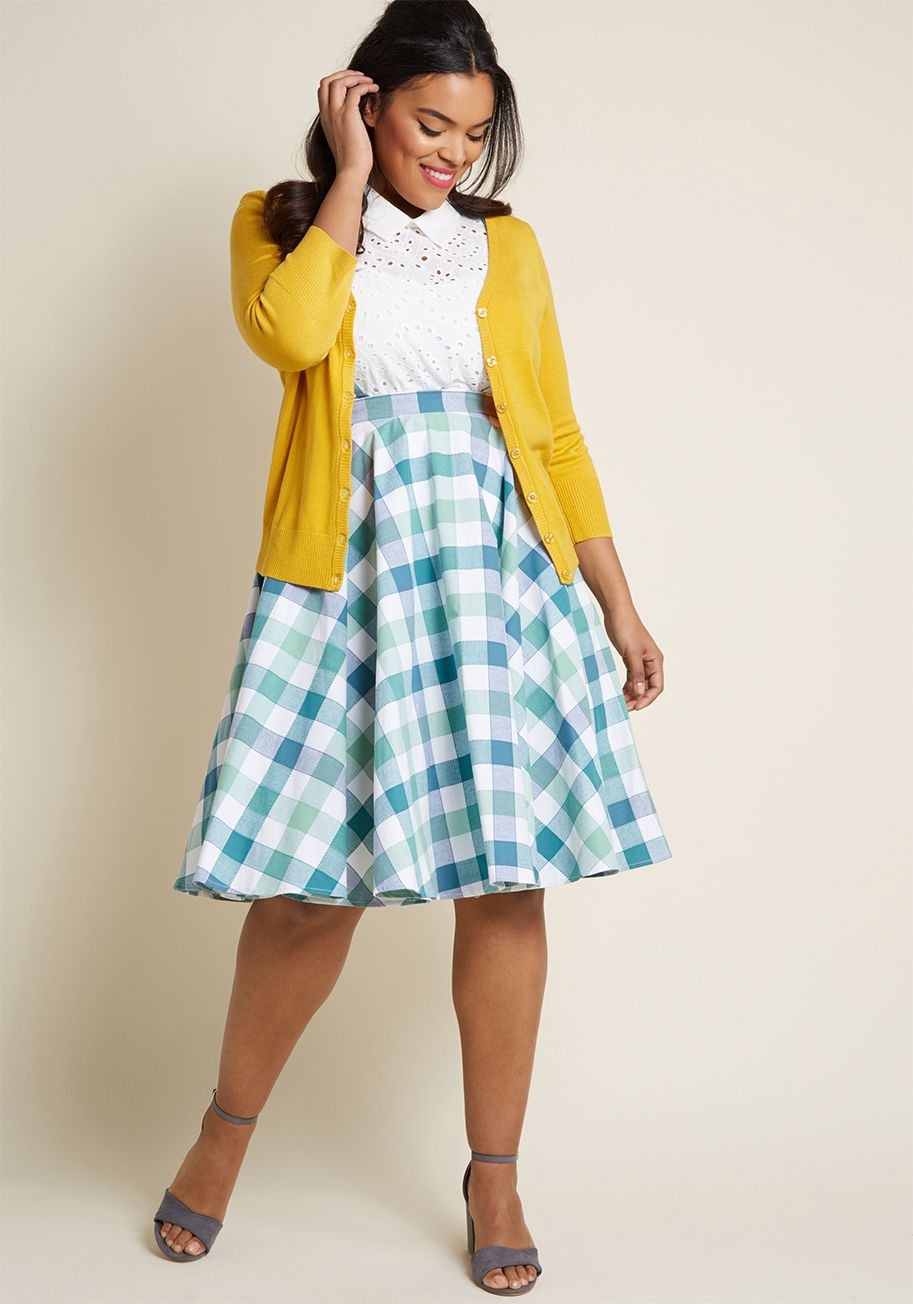 fddd99bb47b8 Your style is always ladylike, but with a lively spin. Exhibit A is this  mint, teal, and ivory gingham midi skirt! A ModCloth exclusive designed in.