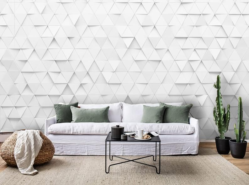 3d Pure White Mosaic Wallpaper Removable Self Adhesive Etsy Mosaic Wallpaper Wall Patterns Wall Murals