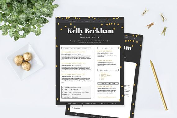 Resume \ Cover Letter Template - Makeup Artist Template Package - make up artist resume