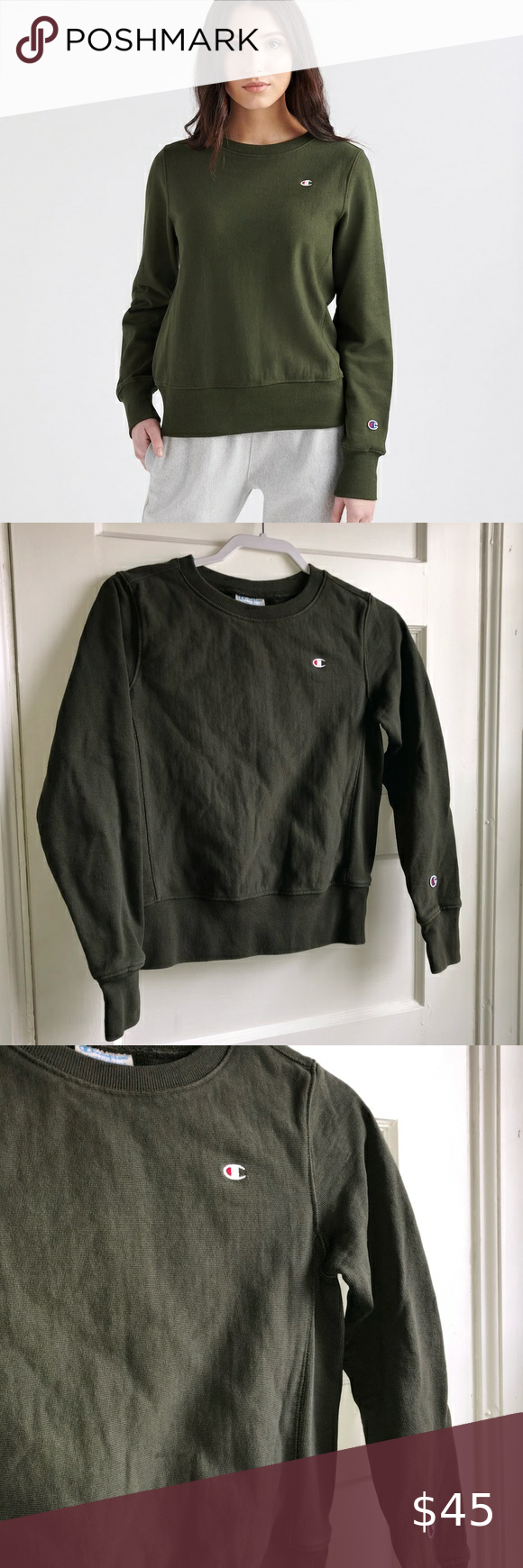 Champion Reverse Weave Crew Logo Sweatshirt Women Pullover Champion Reverse Weave Sweatshirts [ 1740 x 580 Pixel ]