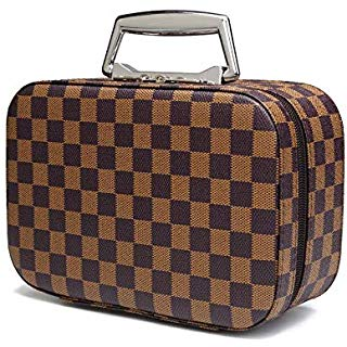 Daisy Rose Luxury Checkered Make Up Bag PU