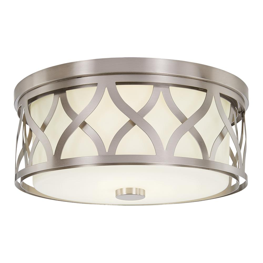 Home Decorators Collection 3 Light Brushed Nickel Flush Mount With Etched White G Kitchen Ceiling Lights Flush Mount Kitchen Lighting Kitchen Lighting Fixtures