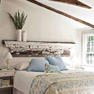 Another Great DIY Headboard Idea Very Shabby Chic In Place Of A Salvaged Mantel Gives This Bedroom Architectural Flair