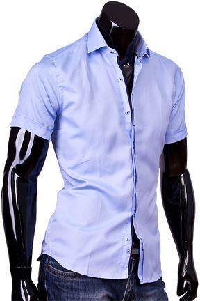 1456defb839af9d Купить Мужская рубашка с коротким рукавом голубого цвета фото недорого в  Москве