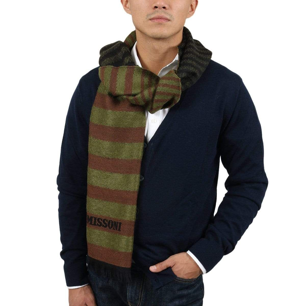 Photo of Missoni SC12WMU5078 0004 Green/Brown Wool Blend  Scarf