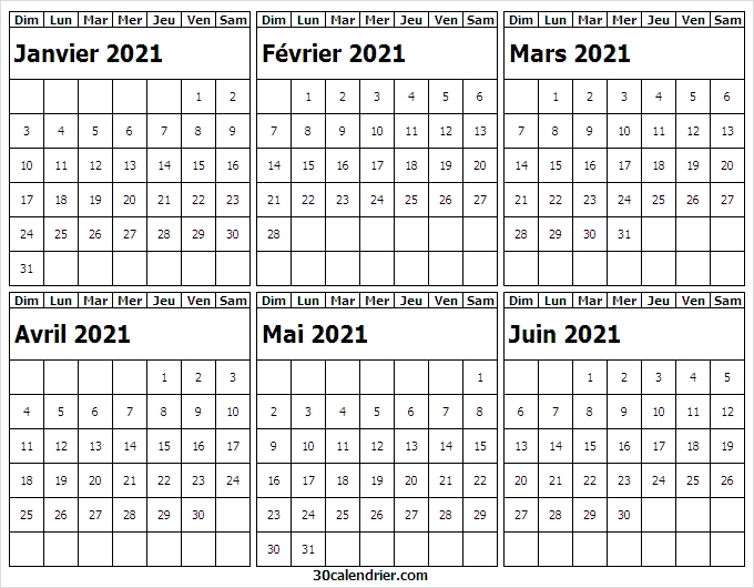 Calendrier Janvier a Juin 2021 Imprimable   Grand Calendrier