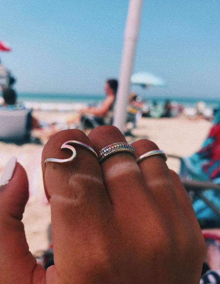 Cute Simple Surf Wave Dainty Ring Fashion Jewelry for Teens Boho Womens Stackable Silver Rose Gold