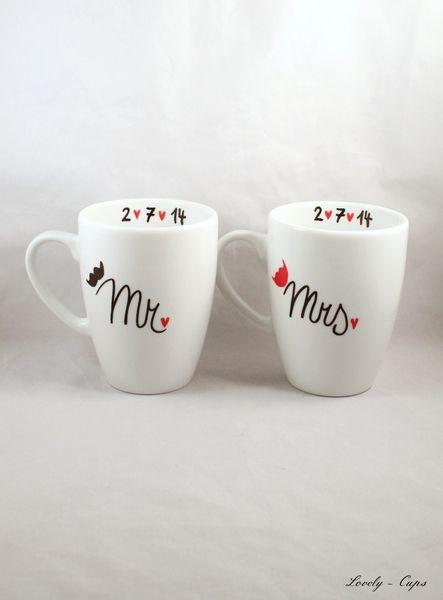 Lovely Tassen Cups Auf Für Mramp; Hochzeitsgeschenk Hochzeit Von Mrs RAL35q4j