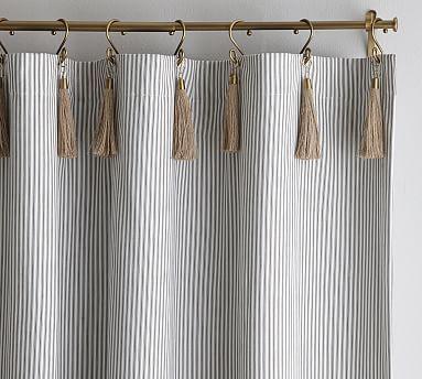 The Emily & Meritt Ticking Stripe Drape With Hook And Tassel, 50x108 ...