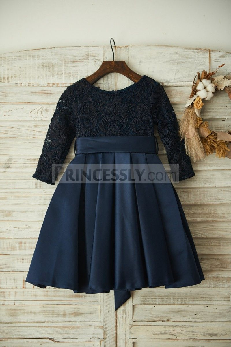 64bee0225d75 Long Sleeves Navy Blue Lace Satin Wedding Flower Girl Dress with Belt