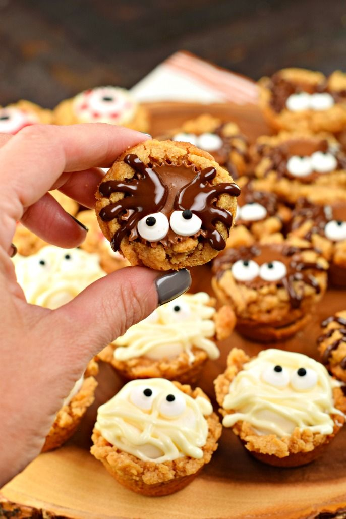 these halloween peanut butter cookie cups start with a 3 ingredient flourless cookie add