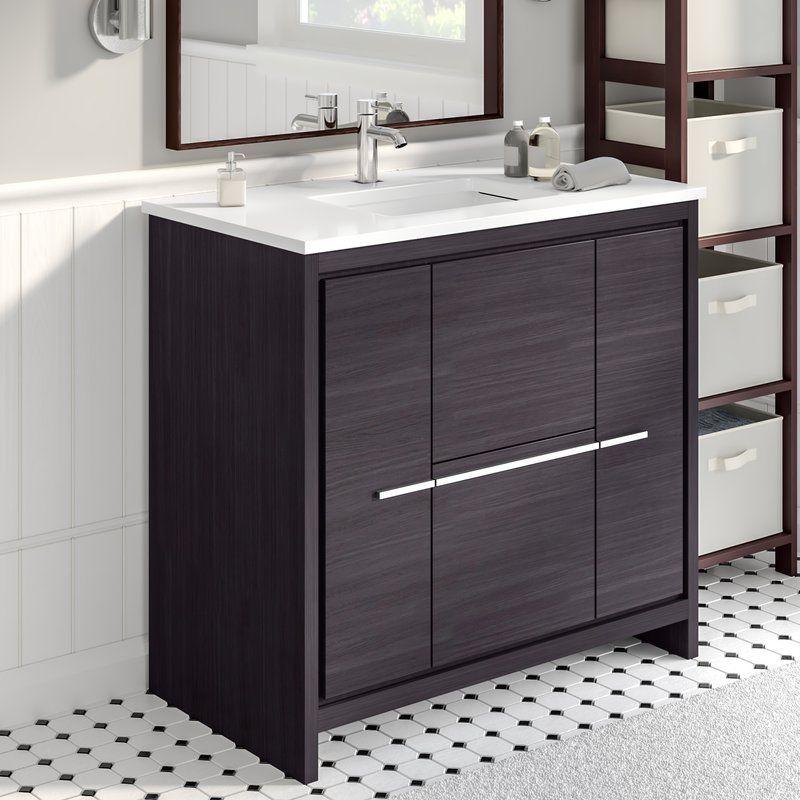 Mercury Row Bosley 36 Single Modern Bathroom Vanity Set Reviews Wayfair Bathroom Vanity Modern Bathroom Single Bathroom Vanity