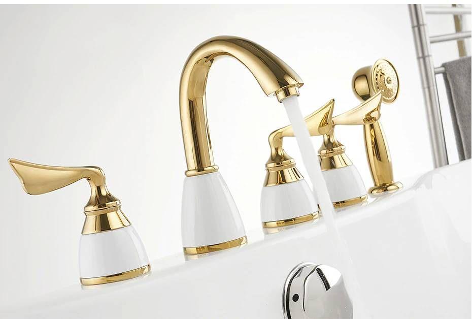 Chrome Deck Mounted Bathtub Faucet Set 5 Holes Widespread Tub