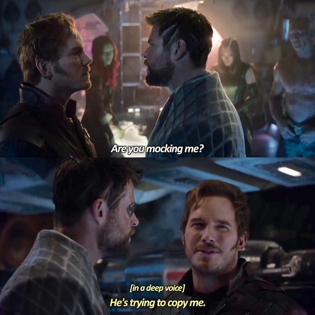 Peter Quill Guardians Of The Galaxy Thor Chris Hemsworth Infinity War Avengers Film Comics Comic Books Comic Book Marvel Funny Marvel Marvel Cinematic