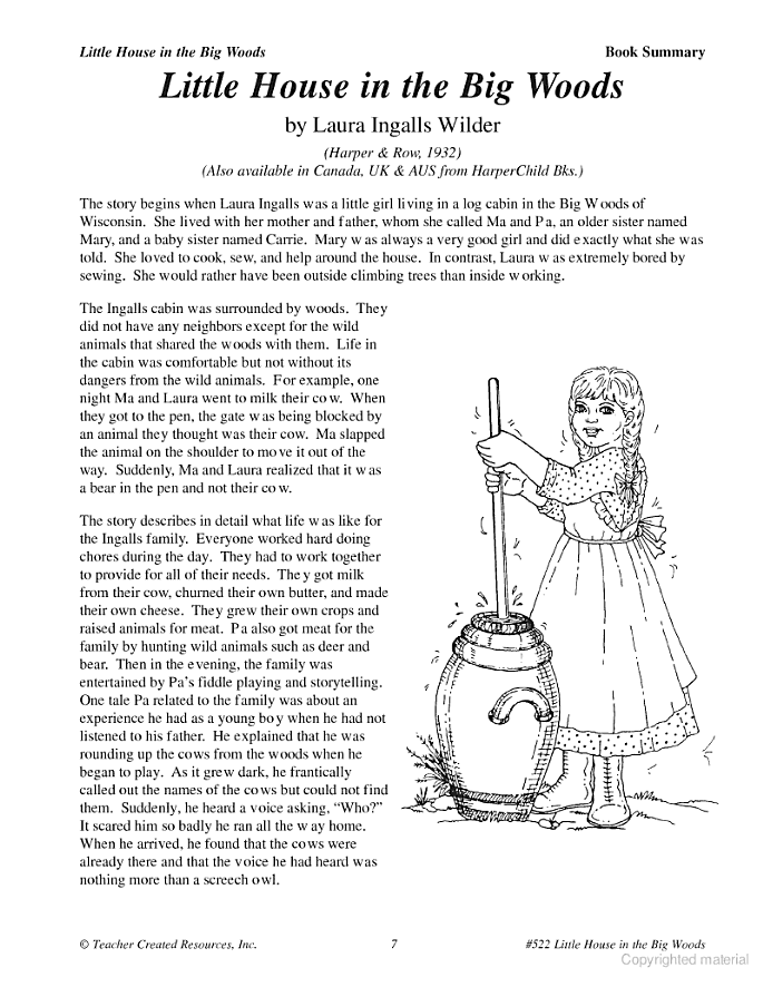A Guide For Using Little House In The Big Woods In The Classroom