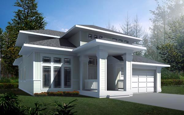 Contemporary Prairie Style House Plan 91819 Elevation