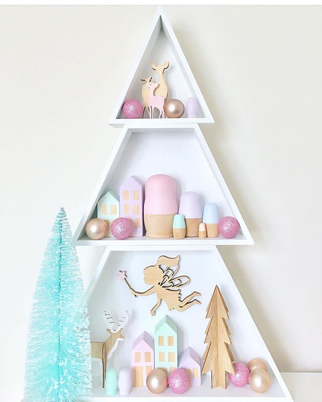 The Amazing Kmartaus Christmas Tree Shelves Shadow Box Has Been Styled Up A Treat By Deni Eliz Christmas Tree Box Kmart Christmas Trees Christmas Crafts Diy