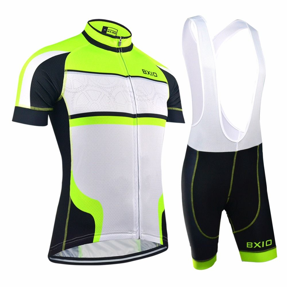 762be6792 EU Brand BXIO Cycling Sets Seamless Stitching Short Sleeves Bicycle Clothing  Fluo Green 5D Gel Pad