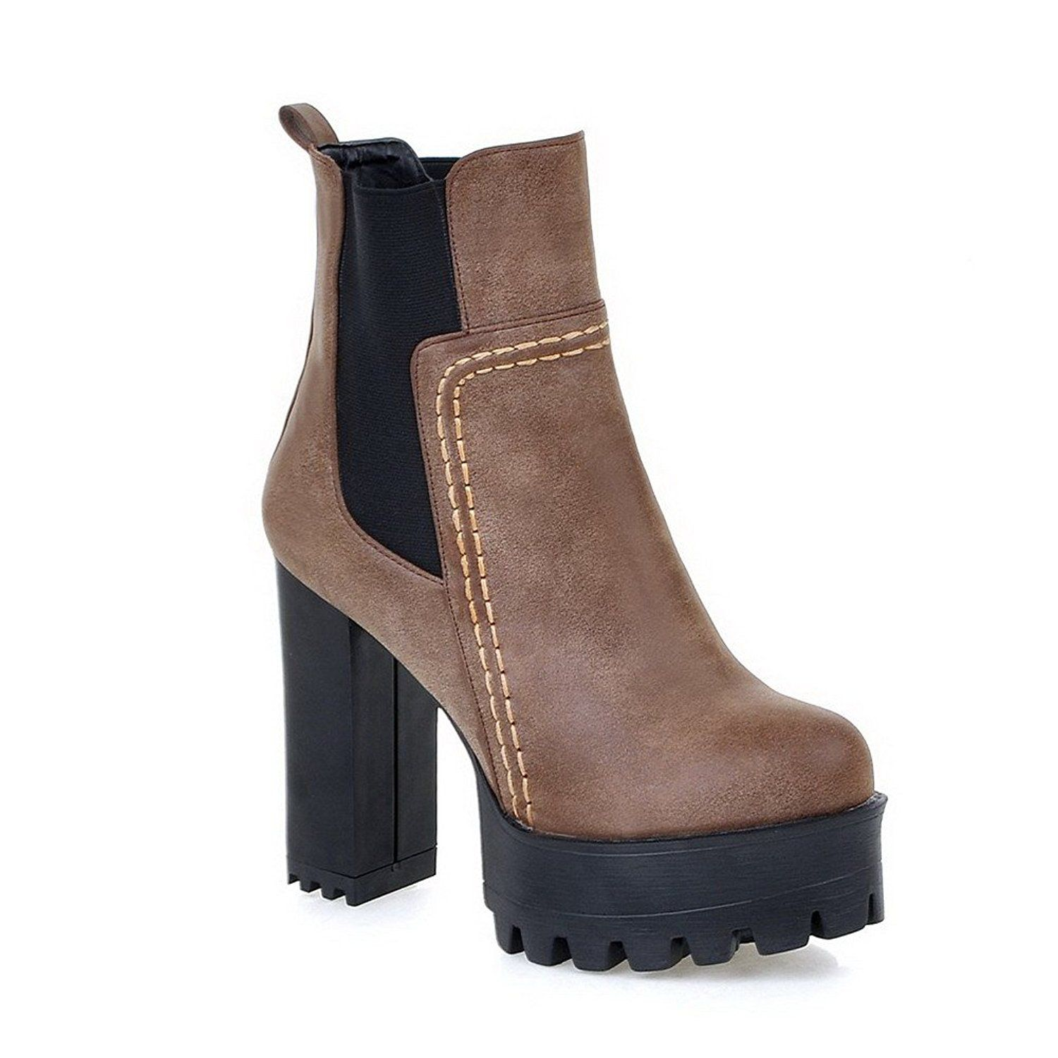 Women's Solid Imitated?Suede High-Heels Elastic Round Closed Toe Boots