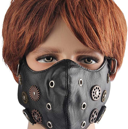 GelConnie Punk Leather Mask Motorcycle Biker Half Face
