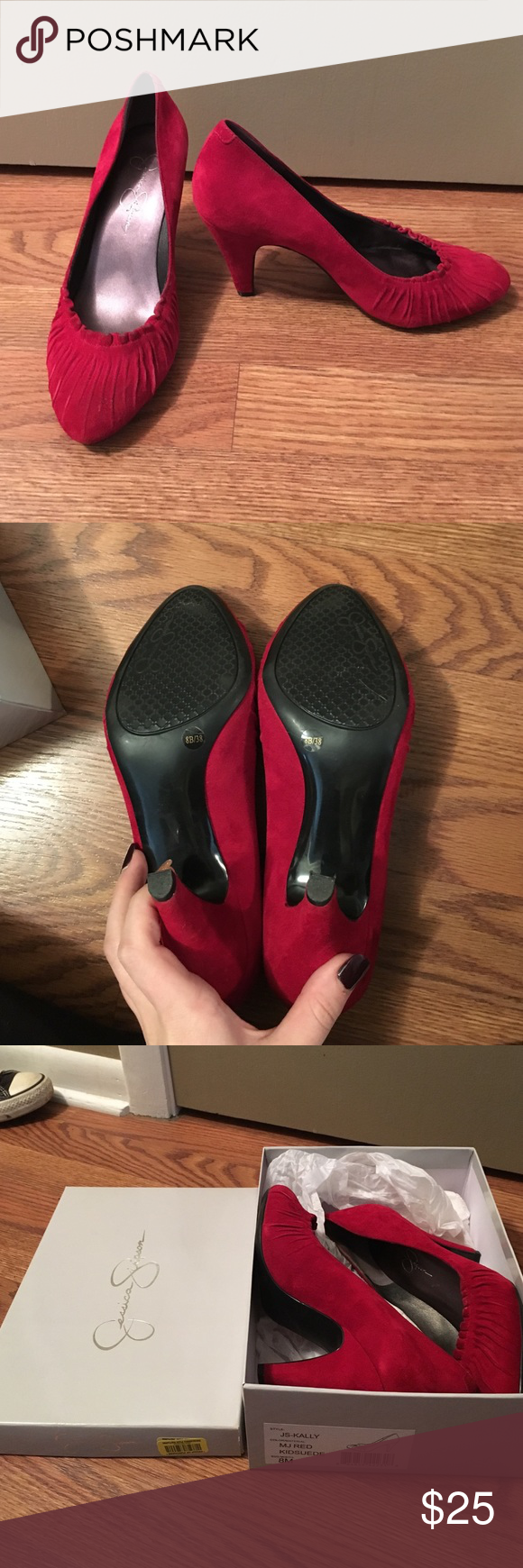 RED JESSICA SIMPSON HEELS NWOT Jessica Simpson heels! Very classy. Perfect for a Valentine's Day outfit! Never worn, but I took the tags off. They are still in the box Jessica Simpson Shoes Heels