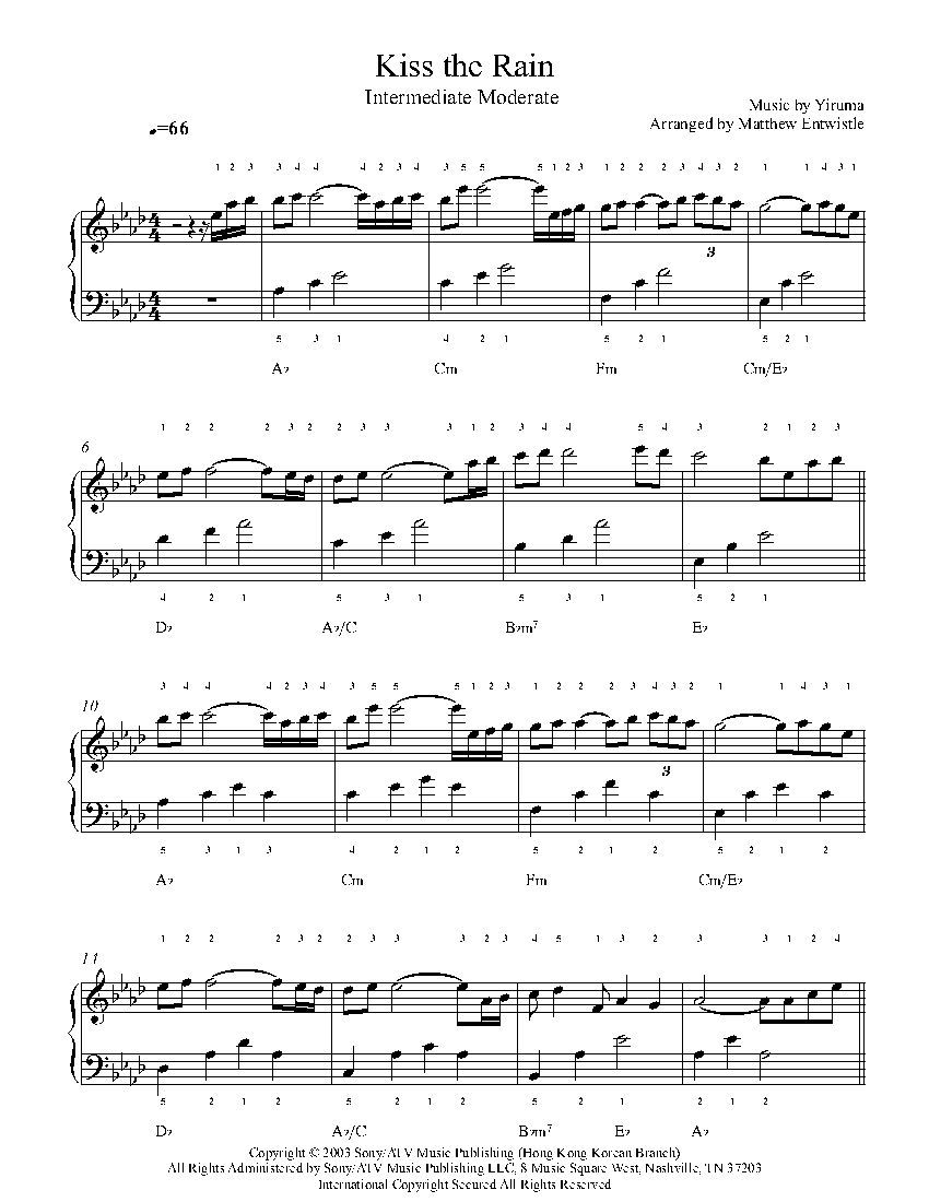 Kiss The Rain By Yiruma Piano Sheet Music Intermediate Level