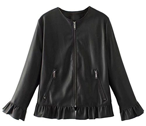 AvaCostume Womens Wide-Lapel Long Sleeve Leather Casual Jacket