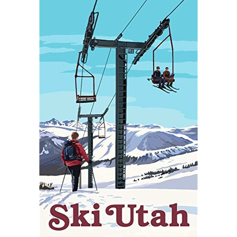 Ski Utah Ski Lift Day Scene (12x18 SIGNED Print Master