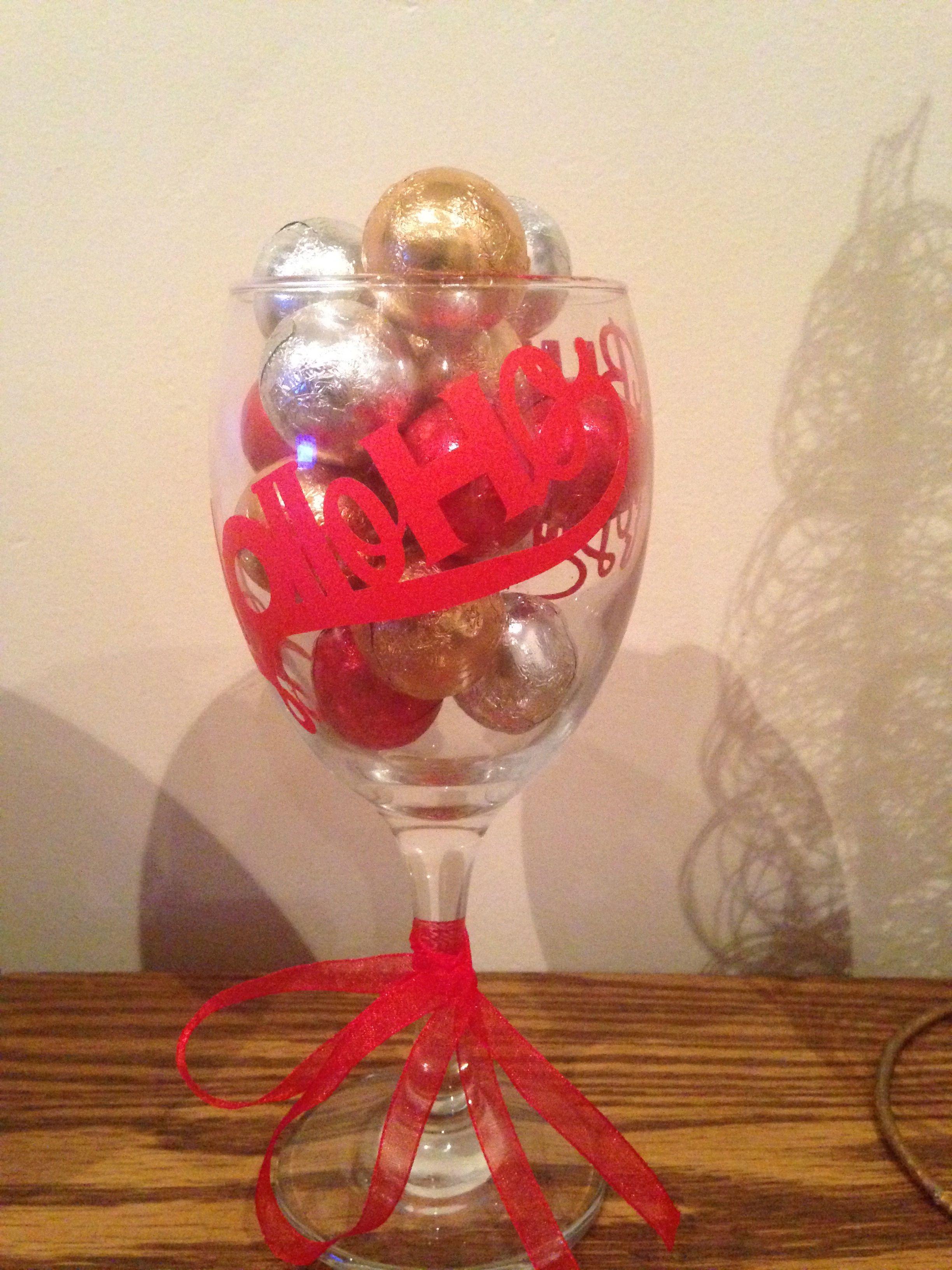 Ho Ho Ho Wine Glass Filled With Chocolates Wine Glass Glass Glassware