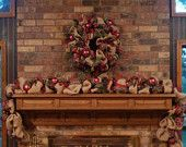 Natural Burlap CHRISTMAS WREATH and GARLAND with Leopard Print Ribbon and Berries