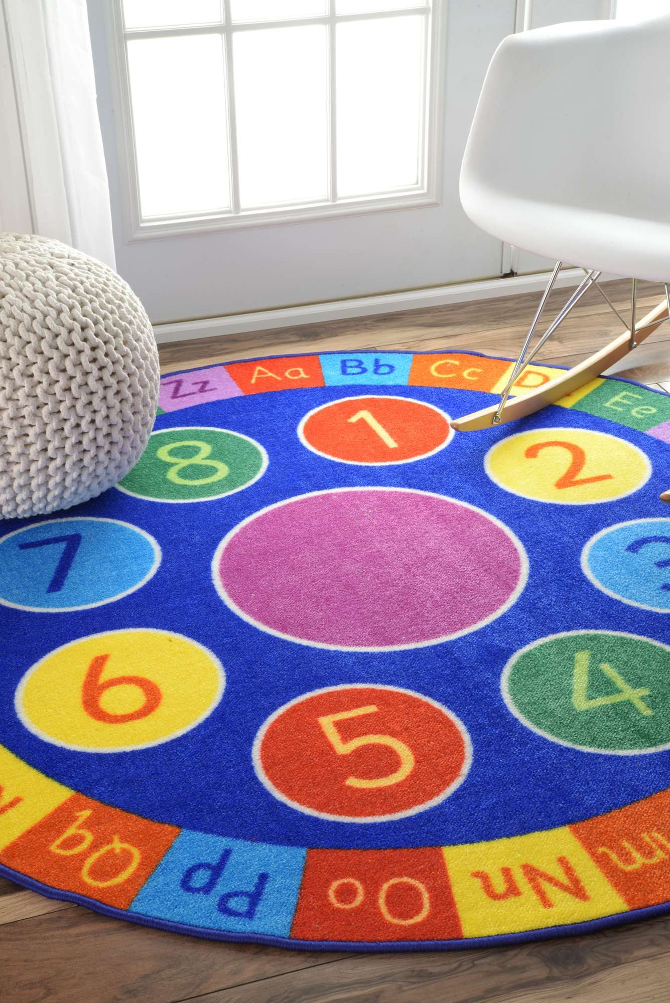 Contemporary Alphabet And Numbers Wheel Kids Area Rugs 5 Feet Diameter Round Made From The Finest Materials In World With Uttermost Care