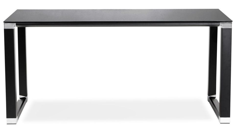 Bureau en verre noir bureau droit plateau cm verre noir