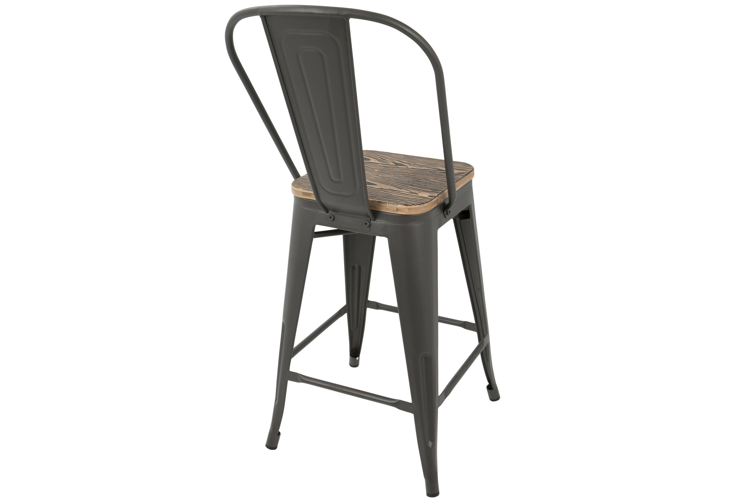 Oregon Industrial High Back Counter Stool In Grey And Brown By