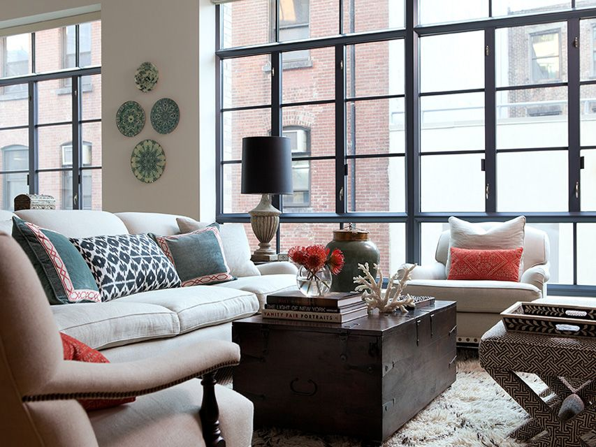 Really Feel Comfy With Black Living Room Furniture Living room inspiration Madeline Weinrib Black Daphne Ikat Pillow -  designed by Jenny Wolf - LOVE THIS ROOM - especially the sofa, and the  chairs, ...