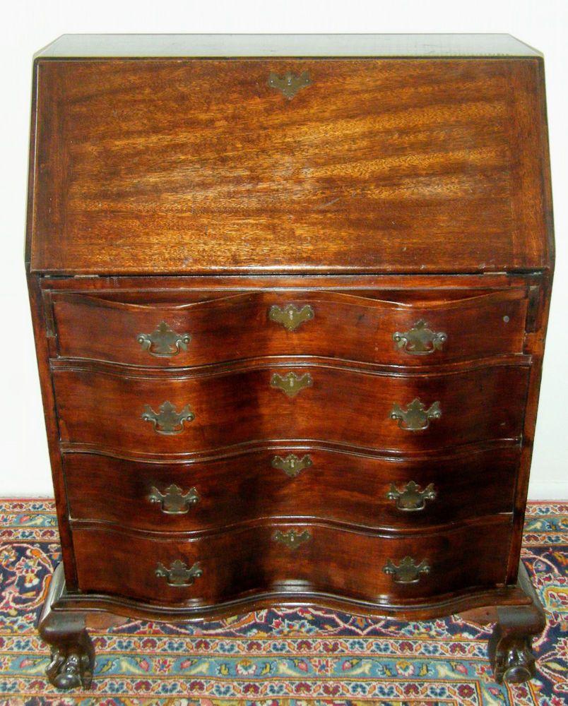 Antique Mahogany Ball Claw Foot Drop Front Secretary Desk 1900