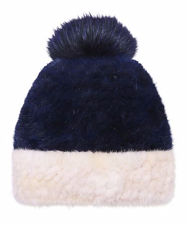 blue pom winter hat