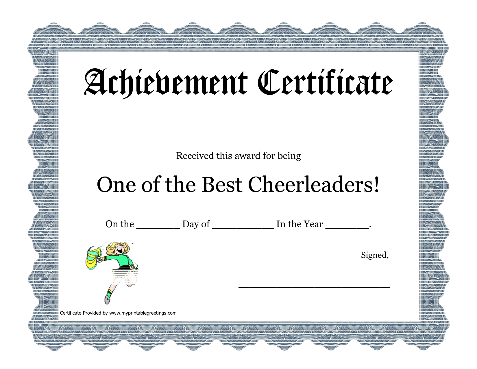 Cheerleading certificate ideas google search cheer stuff free cheerleading printables best cheerleader printable awards yadclub Images