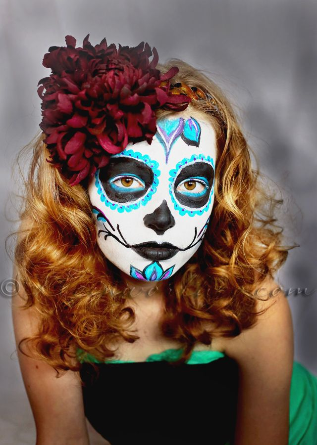 Day of the Dead Face Paint Tutorial - Face painting halloween, Homemade face paints, Sugar skull ...