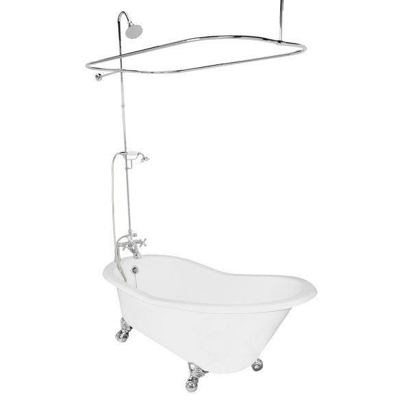 Slipper Tub With Standing Shower Set Up Bathtub American Bath