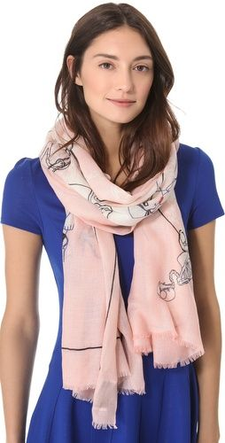 pink we are owls scarf.