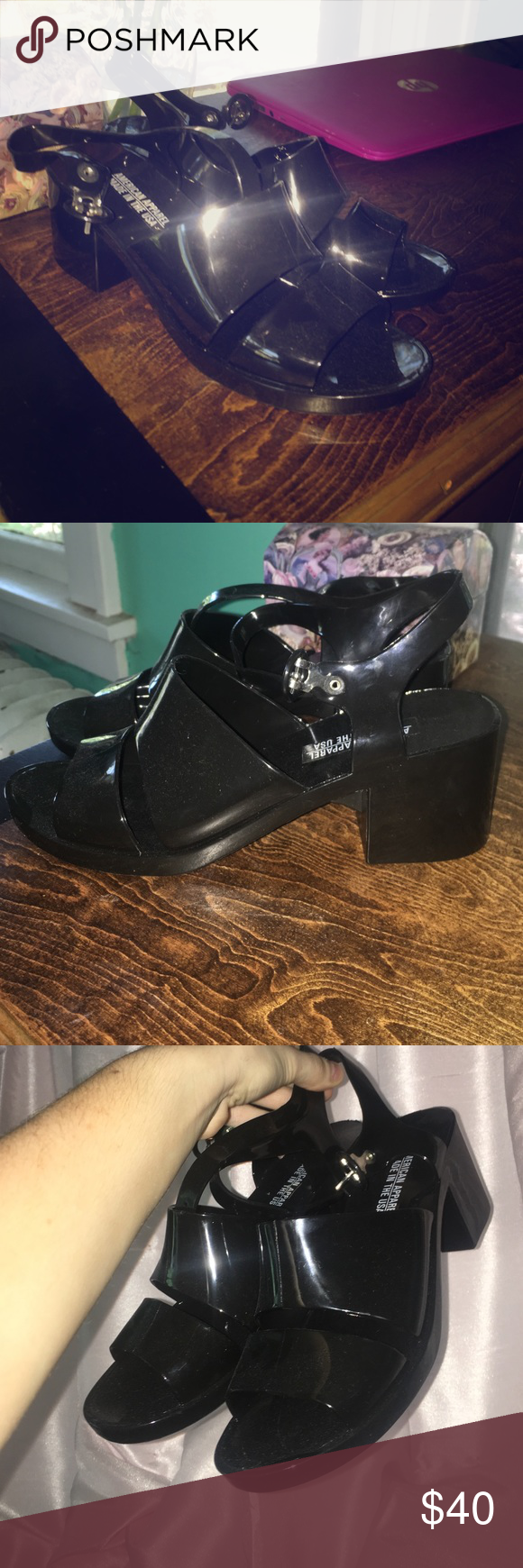 b9f19c453ba5 American Apparel Classic Jelly Heels in Black! Never worn! Recently got a  size too small and could never fit them. They re in great shape.
