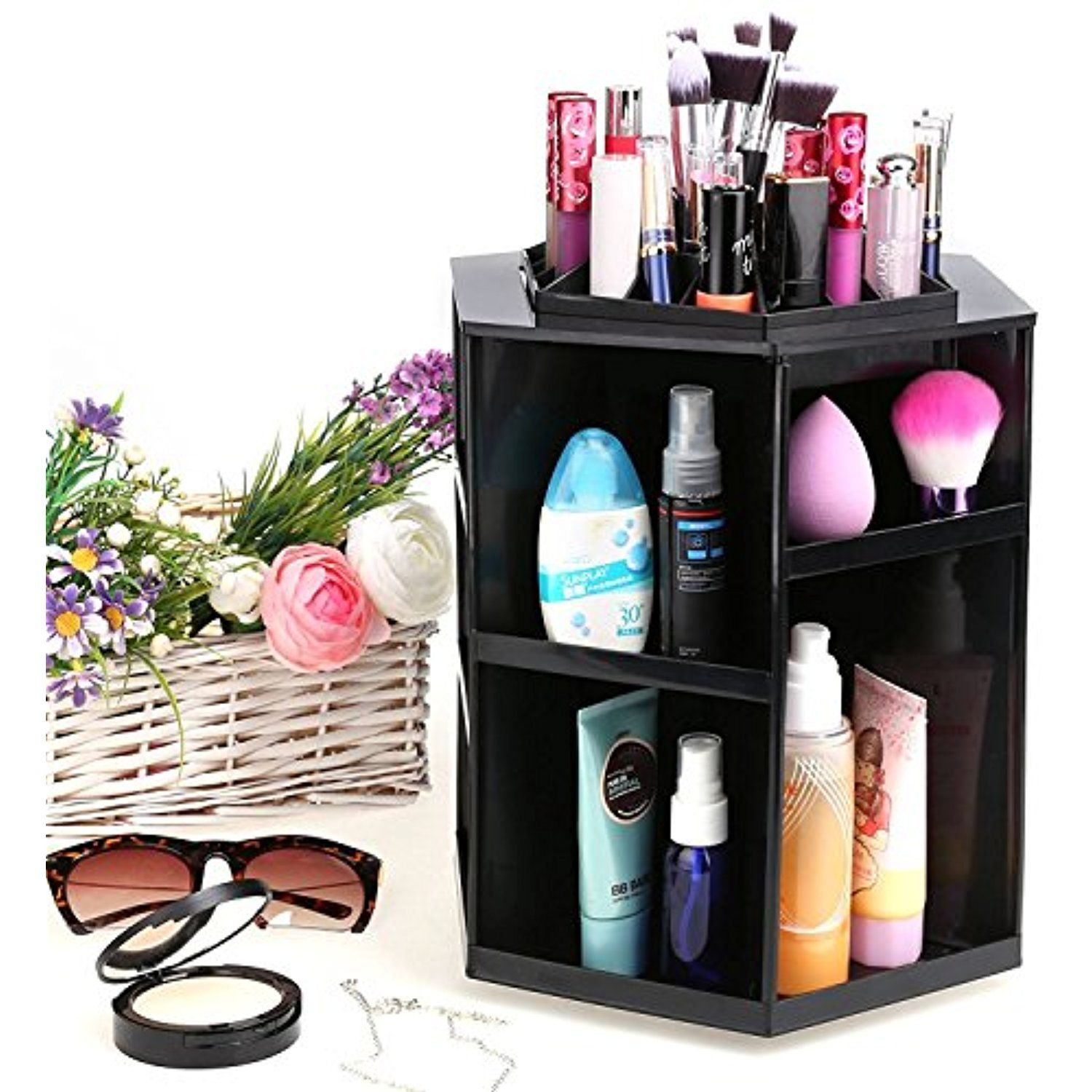 Homdox Makeup Organizer 360 Degree Rotating Cosmetic Storage Box Fits