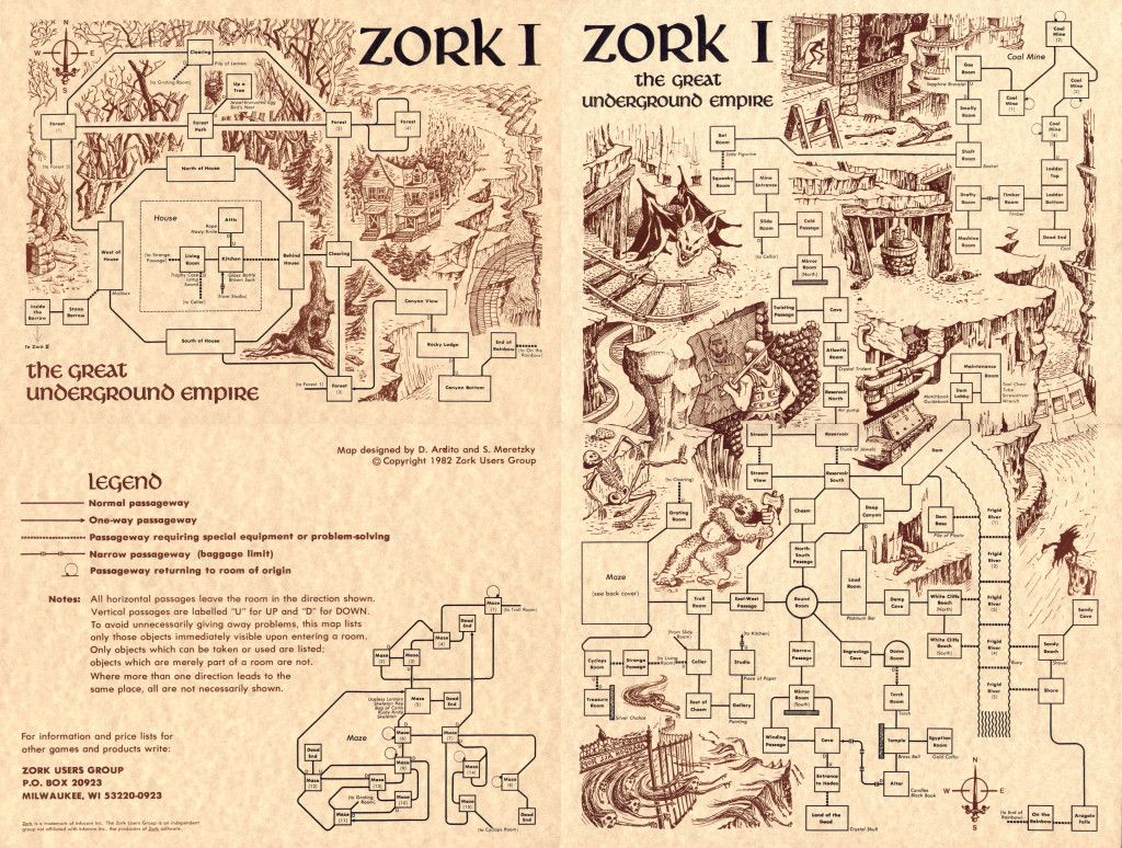Zork User's Group map of Zork I, a computer adventure game