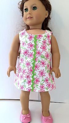 American-Girl-Doll-Clothes-Dress-w-Lilly-Pulitzer-Fabric-entitled-Pink-Daisies